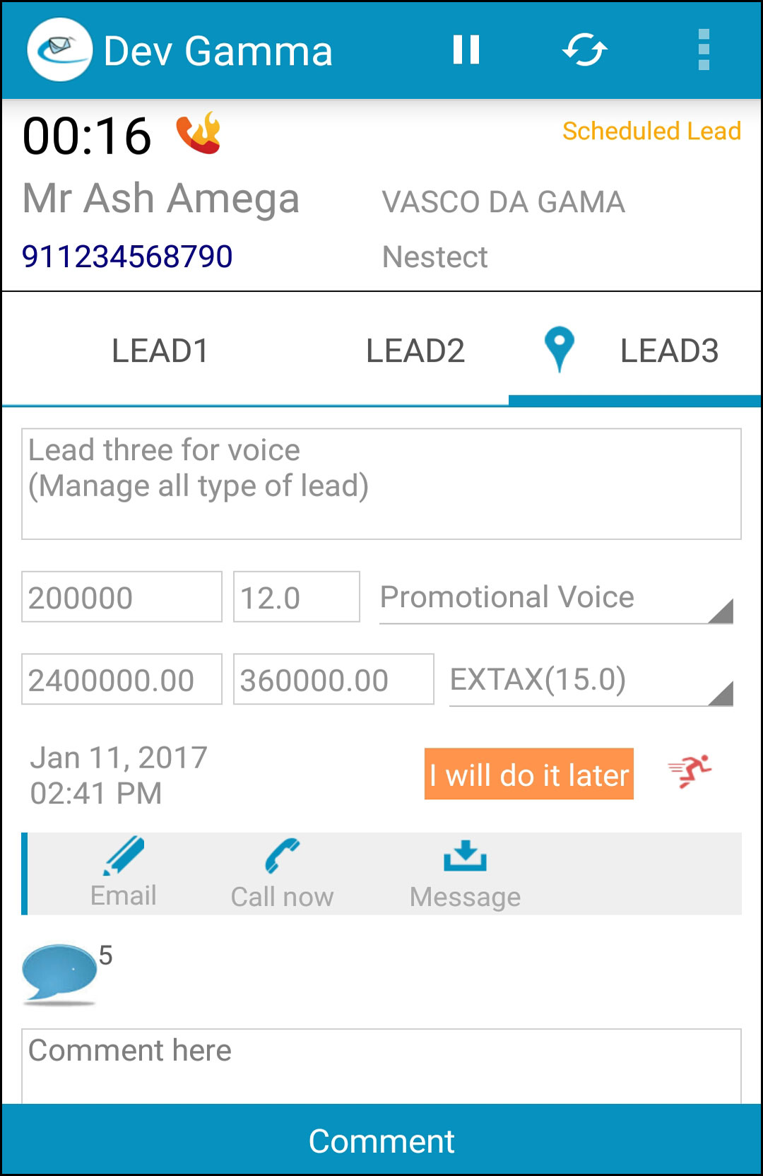 get schedule leads on wall sales crm